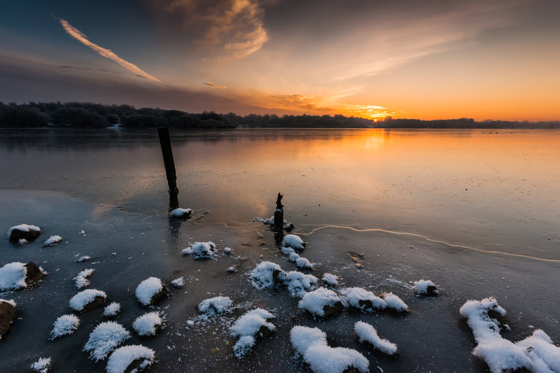 Winter Sunset at Pennington Flash #5, Greater Manchester, North West England